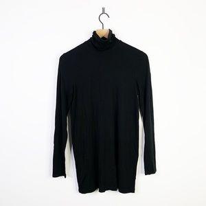 Eileen Fisher Black Silk Turtle Neck Thin Top XS